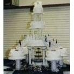 Tiered, fountain, satellites, staircases, figurines